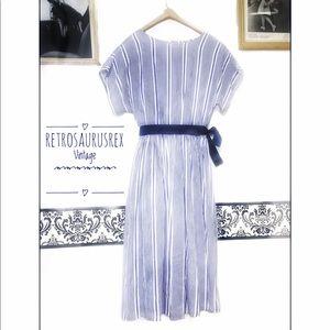 Vintage 1980's Cotton Blue Pin Striped Day Dress